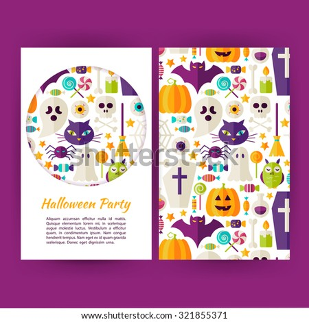 Vector Halloween Party Banners Set Template. Flat Style Vector Illustration of Brand Identity for Halloween Promotion. Colorful Pattern for Advertising. Trick or Treat - stock vector