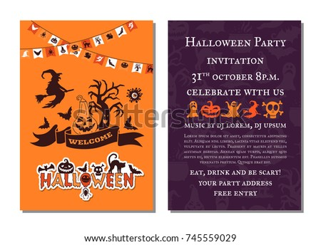 Halloween Party Invitation Card Design Template Vector – Halloween Party Invitation Cards