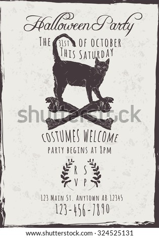 Vector Halloween Party Invitation with black cat and bones - stock vector