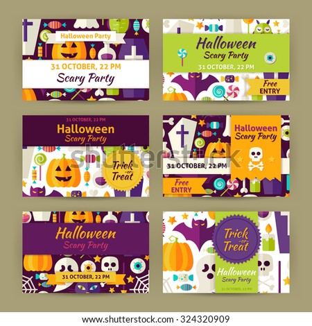 Vector Halloween Party Template Invitation Modern Set. Flat Design Vector Illustration of Brand Identity for Halloween Promotion. Trick or Treat Colorful Pattern for Advertising - stock vector