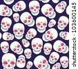 vector Halloween pattern with skull - stock vector