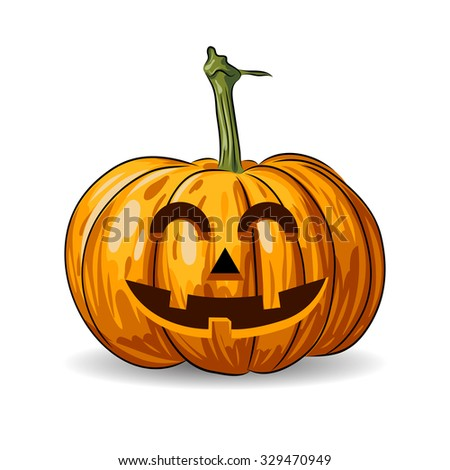 vector Halloween pumpkin face isolated on white background. EPS - stock vector