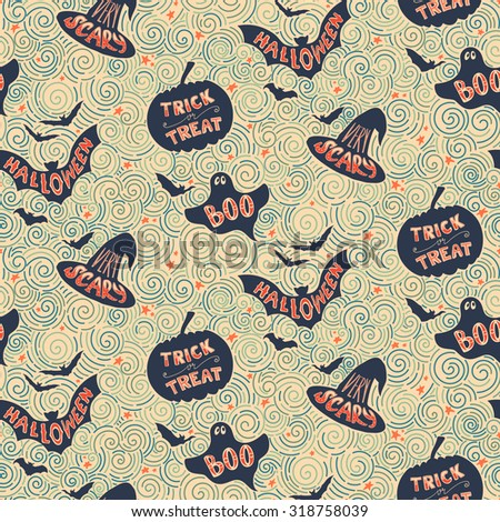 Vector Halloween pumpkin seamless background pattern in vintage style. Halloween party backdrop for fabric, textile, wrapping paper, card, invitation, wallpaper, web design.  - stock vector