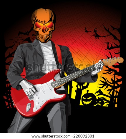 Vector Halloween scary punk man with the guitar - stock vector