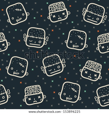 Vector halloween seamless patterns. Cartoon faces. Halloween elements for scrap-booking. Hand drawn vector illustration.  - stock vector