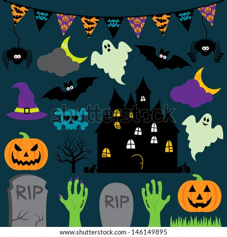 Vector Halloween Set with Scary and Cute Elements - stock vector
