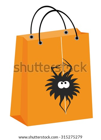 vector Halloween shopping bag with a spider hanging on a web - stock vector