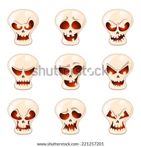 Vector Halloween skull set - stock vector