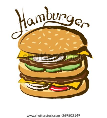 vector hamburger with calligraphic inscription - stock vector