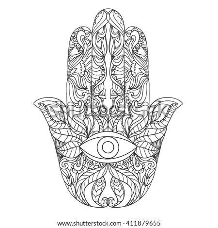 Hamsa Hand Drawing Sketch Coloring Page
