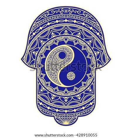 Vector hamsa hand drawn symbol. Yin-yang decorative symbol - stock vector