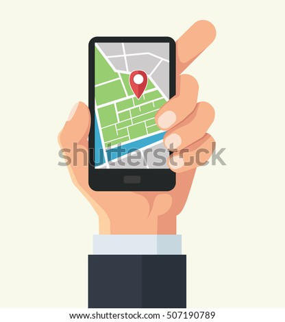Vector hand and smartphone with map navigation app on touch screen. Vector flat cartoon illustration