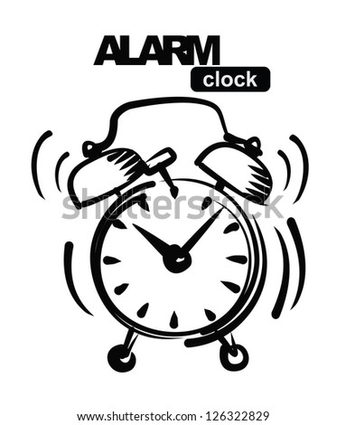 vector hand draw black alarm clock icon on white - stock vector