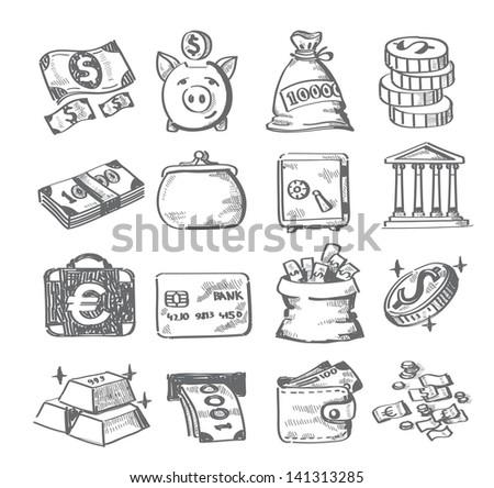 vector hand draw money icon set on white - stock vector