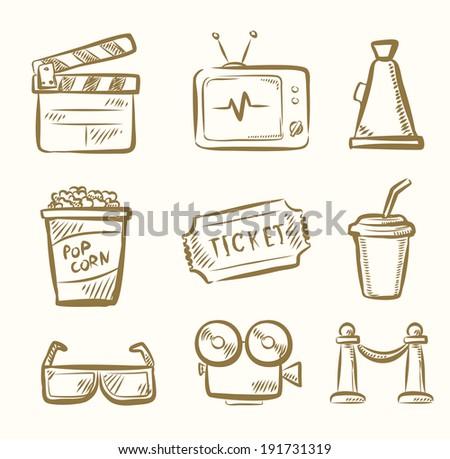 vector hand draw Movie icon set on beige - stock vector