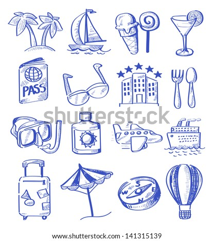 vector hand draw travel icon set on white - stock vector