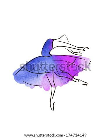 vector hand drawing ballerina figure, watercolor - stock vector