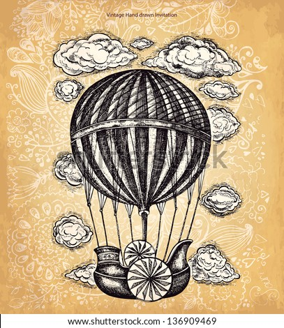 Vector hand drawing balloon with clouds - stock vector