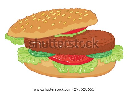 vector hand drawing  big delicious burger with cucumber, lettuce, tomatoes and chop on a bun with sesame seeds - stock vector