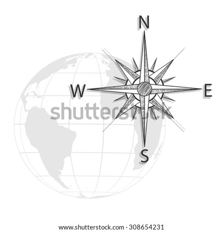 Vector hand drawing compass on the globe, map - black, grey icon - stock vector