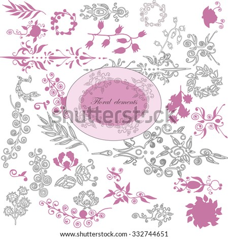 Vector hand drawing floral elements  for backgrounds, brushes, frames, invitation card, wedding and celebration design