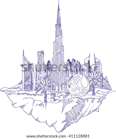 Vector hand drawing flying land dubai city
