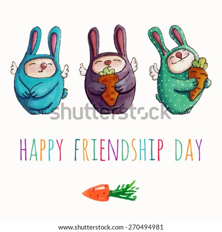 Vector Hand Drawing Funny Bunnies With CarrotsWatercolors Illustration Cute Baby Rabbits Happy