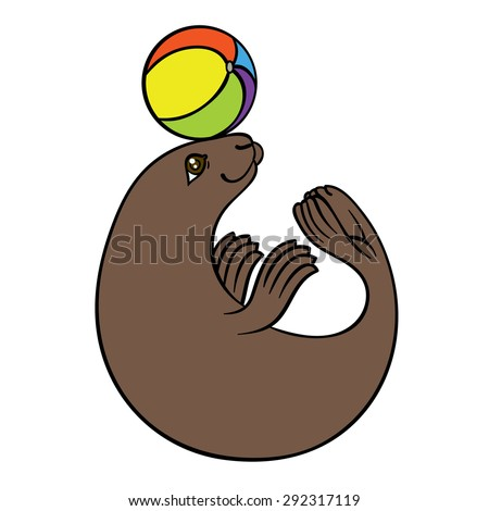 vector hand drawing seal with colorful ball - harbor seal or sea calf - stock vector