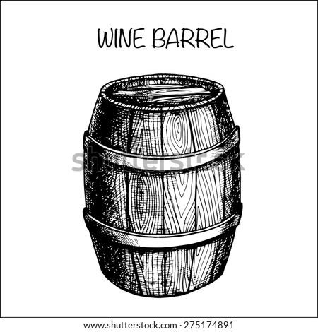 vector hand drawing wine barrel - stock vector