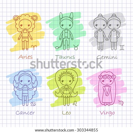 vector hand drawing zodiac signs Aries, Taurus, Gemini, Cancer, Leo, Virgo and color spots - stock vector