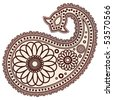Vector Hand-Drawn Abstract Henna (mehndi) Paisley Doodle Vector Illustration Design Elements. - stock vector