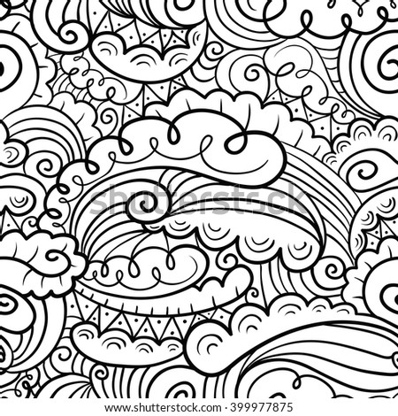 Vector hand-drawn abstract seamless pattern in doodle black and white style