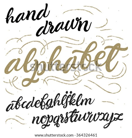 Vector hand drawn alphabet. Brush painted letters. Handwritten script alphabet.  Hand lettering and custom typography for your designs: t-shirts, logo, for posters, invitations, cards, etc.  - stock vector