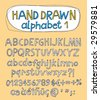 Vector hand drawn alphabet for designer 1. Change easily the colors as you wish. - stock vector