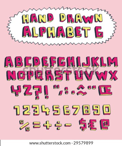 Vector hand drawn alphabet for designer 6. Change easily the colors as you wish. - stock vector