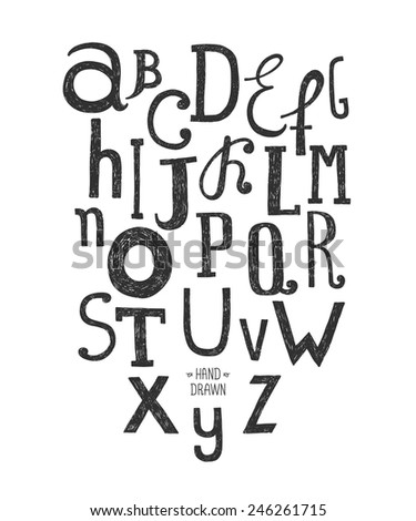 Vector hand drawn alphabet isolated on white background, doodle letters collection - stock vector