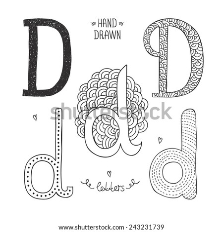 Vector hand drawn alphabet, letter d. Doodle letters set isolated on white background - stock vector