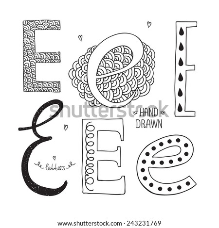 Vector hand drawn alphabet, letter e. Doodle letters set isolated on white background - stock vector