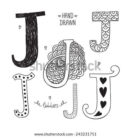 Vector hand drawn alphabet, letter j. Doodle letters set isolated on white background - stock vector