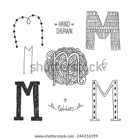 Vector hand drawn alphabet, letter m. Doodle letters set isolated on white background - stock vector