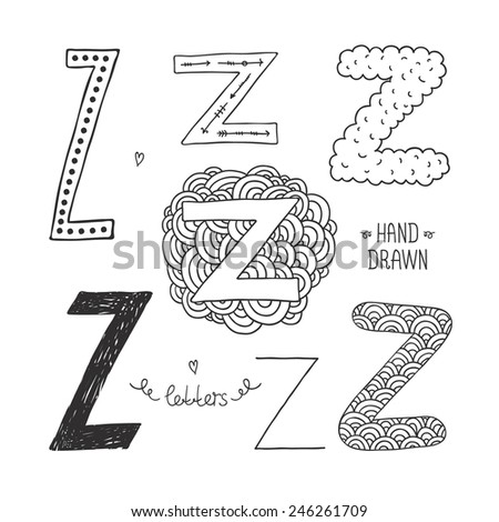 Vector hand drawn alphabet, letter z. Doodle letters set isolated on white background - stock vector