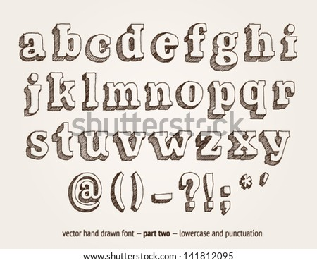 Vector hand drawn alphabet, lowercase and punctuation - stock vector