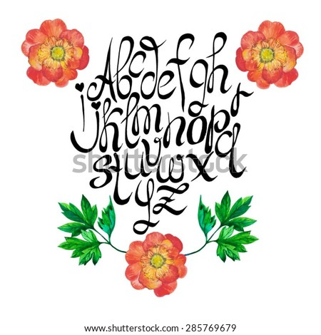 Vector hand drawn alphabet with floral decoration of beautiful watercolor garden flowers. - stock vector