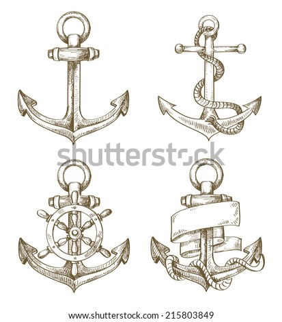 vector hand drawn anchor icon set on background - stock vector