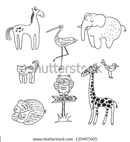vector hand drawn animals collection