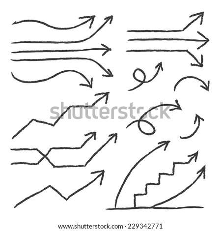 VECTOR Hand Drawn arrows for info graphic design, business template, marketing, creative templates and graphics vector - stock vector