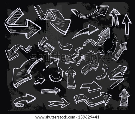 vector hand drawn arrows icons set on chalkboard - stock vector