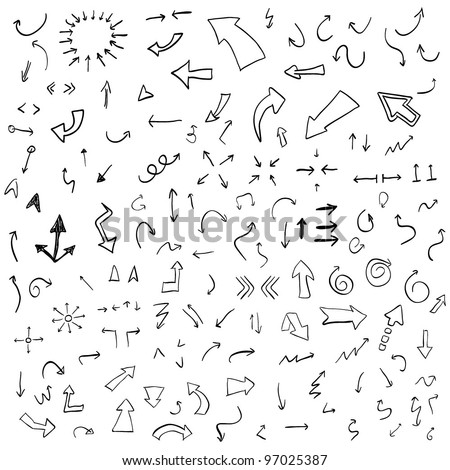 Vector hand drawn arrows set - stock vector