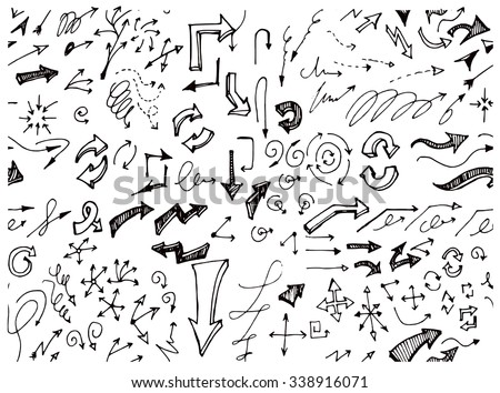 Vector hand drawn arrows set isolated on white seamless - stock vector