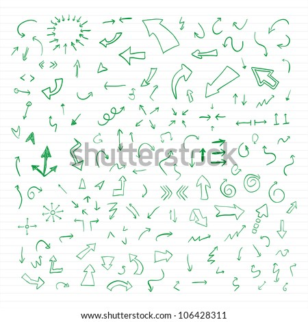 Vector hand drawn arrows set written with green ink on paper. - stock vector